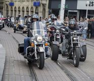 Group of motorcycle Harley Davidson fans in Zagreb royalty free stock images
