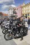 Group of motorcycle Harley Davidson fans in Zagreb royalty free stock image