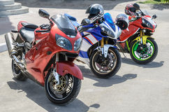 Group of motorcycle parking Stock Photo