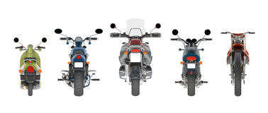 Group motorcycles back view 3d rendering. Group motorcycles back view isolated on white 3d rendering Stock Photo