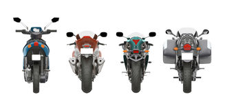 Group motorcycles back view 3d rendering. Group motorcycles back view isolated on white 3d rendering Royalty Free Stock Photos