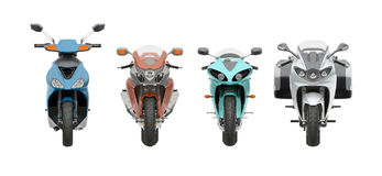 Group motorcycles front view 3d rendering. Group motorcycles front view  on white 3d rendering Royalty Free Stock Photo