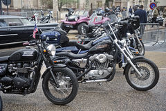 A group of motorcycles from a gathering of American motorcycle Stock Images