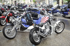 A group of motorcycles from a gathering of American motorcycle Stock Photo