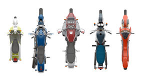 Group motorcycles top view 3d rendering. Group motorcycles top view isolated on white 3d rendering Royalty Free Stock Photos