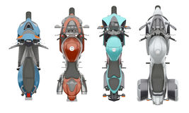 Group motorcycles top view 3d rendering. Group motorcycles top view isolated on white 3d rendering Stock Image