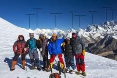 Group of Mountain Climbers on High Altitude Mountain of Himalaya Royalty Free Stock Photos
