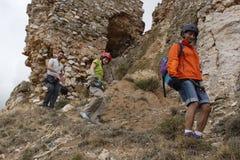 Group of mountaineers walking. In Teruel Spain Royalty Free Stock Images