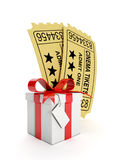 Group of movie tickets and a gift. 3d illustration: A group of movie tickets and a gift. Action for buying tickets to the movies Royalty Free Stock Photo