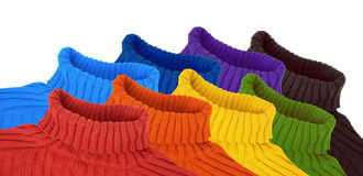 Group of multi color rainbow sweaters collage Stock Image
