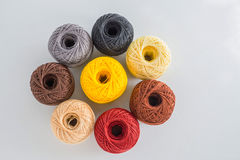 Group of multi colored balls yarn Royalty Free Stock Photos