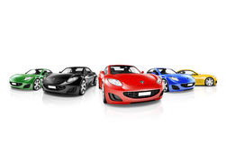 Group of Multi Colored Modern Cars Royalty Free Stock Images