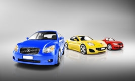 Group of Multi Coloured Modern Cars Stock Photo