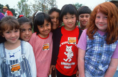 Group of Multi-cultural schoolchildren. Multi-cultural group of schoolgirls, Los Angeles, California Stock Photography