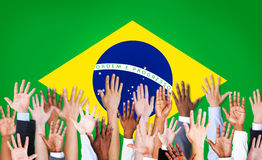 Group of Multi-Ethnic Arms in Brazil Stock Photography