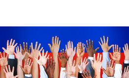 Group of Multi-Ethnic Arms Raised And A Flag Of Russia Royalty Free Stock Photo