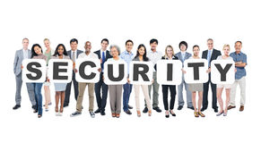 Group Of Multi-Ethnic Group Of Business People Holding Placards. Forming Security stock photo