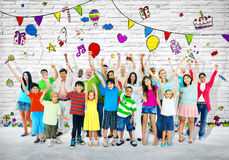 Group of Multi-Ethnic People Celebrating Stock Images