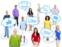 Group of Multi-Ethnic People Connected Through Social Media vector illustration