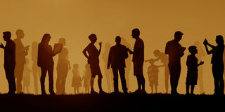 Group Of Multi-Ethnic People Outdoors Social Media Concept Royalty Free Stock Images