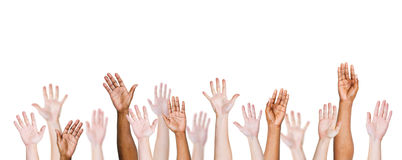 Group Of Multi-Ethnic People's Arms Outstretched In Isolated.  Royalty Free Stock Photos