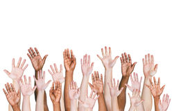 Group Of Multi-Ethnic People's Arms Outstretched In A White Background.  Stock Images