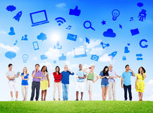 Group of Multi-Ethnic People Social Networking Royalty Free Stock Images
