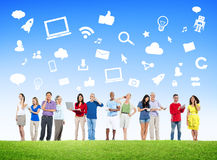 Group Of Multi-Ethnic People Social Networking Stock Images