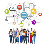 Group Of Multi-Ethnic People Social Networking And Related Symbo. Ls Above Stock Images