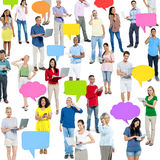Group of Multi Ethnic People with Speech Bubbles and Communicati Stock Photo