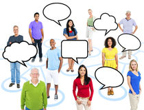 Group Of Multi-Ethnic PeopleConnection With Speech Bubbles Royalty Free Stock Images