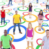 Group of Multi-Ethnic Socially Connected People. On Colorful Circles stock photos