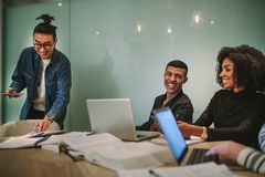 Group of multi-ethnic students studying together royalty free stock photos