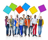 Group Of Multi-Ethnical People Holding Signs Royalty Free Stock Photography