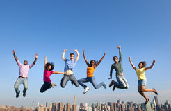 Group of Multi Racial People Jumping in the City.  Royalty Free Stock Photos