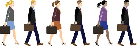 Set Of Young Businesman And Businesswoman Walking Side View - Vector Illustration vector illustration