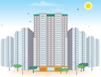Group of multi-storied buildings. Raster and Vector Vector Illustration