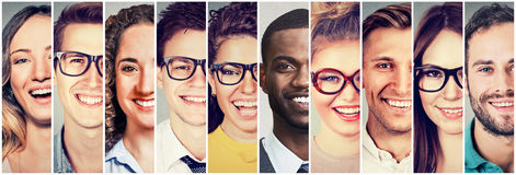 Group of multicultural people men and women smiling. Group of young multicultural people men and women smiling Royalty Free Stock Photos