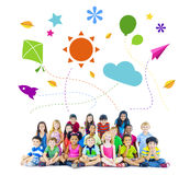 Group of Multiethnic Cheerful Children Childhood Activities Stock Photography