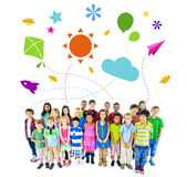 Group of Multiethnic Cheerful Children Childhood Activities Stock Images