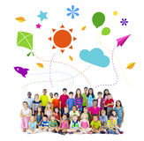 Group of Multiethnic Cheerful Children Childhood Activities.  Royalty Free Stock Photos