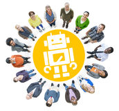 Group of Multiethnic Cheerful People with Robot Symbol Stock Images