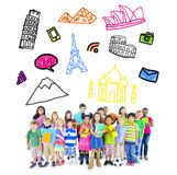 Group of Multiethnic Cheerfull Chirldren Travel Destinations.  Royalty Free Stock Image