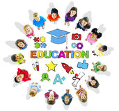 Group of Multiethnic Children with Education Stock Images