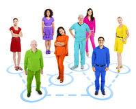 Group of Multiethnic Colorful Connected World People Stock Photos