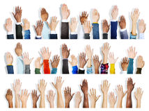 Group of Multiethnic Diverse Hands Raised Royalty Free Stock Image