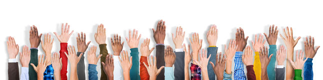 Group of Multiethnic Diverse Hands Raised Royalty Free Stock Photo