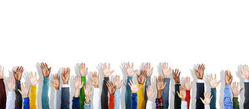 Group of Multiethnic Diverse Hands Raised Royalty Free Stock Photos