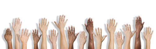 Group of Multiethnic Diverse Hands Raised Stock Photography