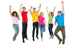 Group of multiethnic diverse people jumping Stock Photography